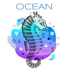 sea horse summer poster ocean seahorse hand drawn vector image