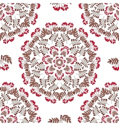 Seamless Pattern Mandala Red Berries vector image