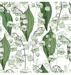 Seamless season pattern with white convallaria vector