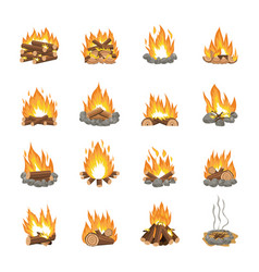 set cartoon bonfire variations - firewood vector image
