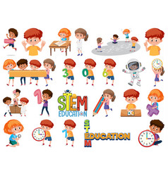 set children with education objects vector image