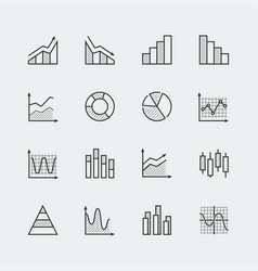 set diagram and graphs related icons vector image