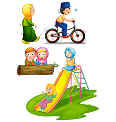 Set muslim children vector