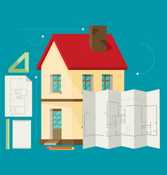 Set of architect concept design flat line vector