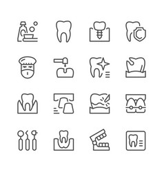 Set of dental related line icons vector