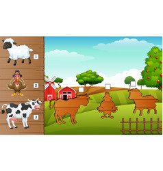 set of matching farm animal game vector image