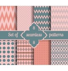Set rose quartz and serenity geometric Patterns vector