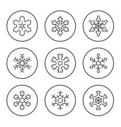 set round line icons snowflake vector image