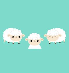 Sheep lamb face head icon set sleeping eyes cloud vector