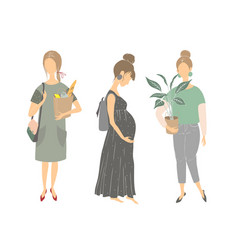 silhouettes of girls young women vector image