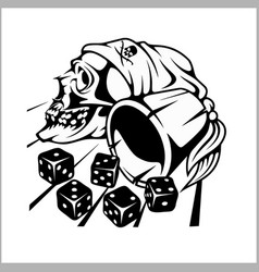 skull and playing dice vector image