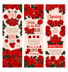 Spring flower banner with red rose floral wreath vector