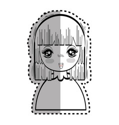 Sticker anime nice tender woman vector