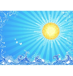 Sun waves and flowers vector image
