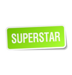 Superstar green square sticker on white background vector