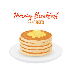 tasty pancakes with butter on white plate vector image