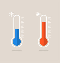 thermometer icons measuring heat and cold vector image