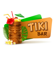 tiki bar label with cocktail vector image