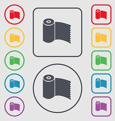 Toilet paper WC roll icon sign symbol on the Round vector