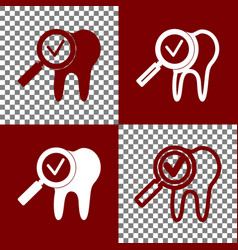 Tooth icon with arrow sign bordo and vector