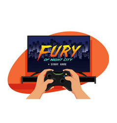 tv set with a game screen and hands holding black vector image