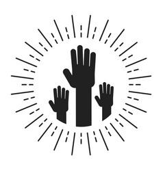 Unity handpalm heart logo vector