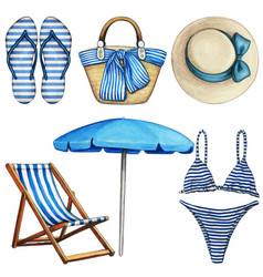 watercolor blue and white beach elements vector image