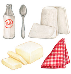 Watercolor dairy products and red checkered napkin vector