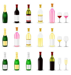 wine set of 3d wine and champagne bottles and vector image