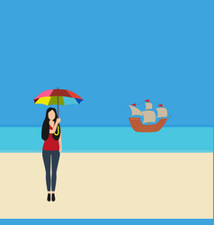 woman with a parasol on beach cote d vector image