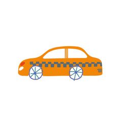 yellow taxi car taxi service side view cartoon vector image