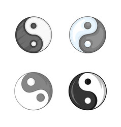 Yin yang symbol icon set cartoon style vector