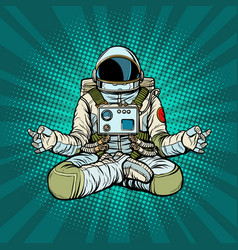 Yoga astronaut lotus pose meditation and vector