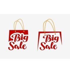 Big sale on red shopping bag closeout icon or vector