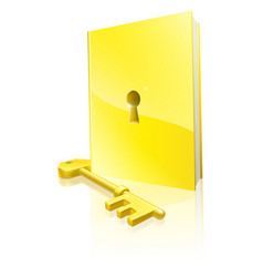 golden locked book and key vector image vector image