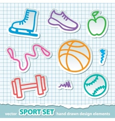 hand drawn sport stickers eps 10 vector image vector image