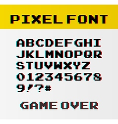 Pixel font with 39 symbols and text game over - vector