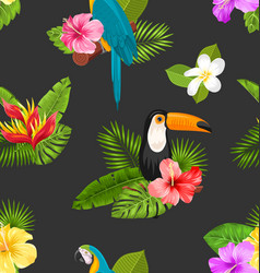 seamless pattern with exotic flowers and birds vector image