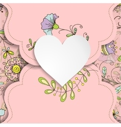 Vintage card with heart and floral patterns vector image vector image