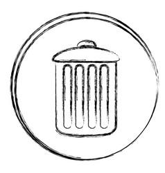 Blurred silhouette circular frame with trash bin vector