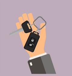 Car rental or sale concept hand hold car key vector