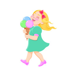 cartoon girl eating ice cream vector image