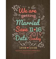 Floral Wedding invitation card design template vector image vector image