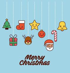 merry christmas card greeting tree gift santa bell vector image