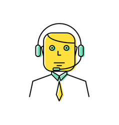operator with headset line icon vector image vector image