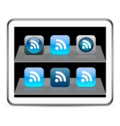 Rss blue app icons vector image