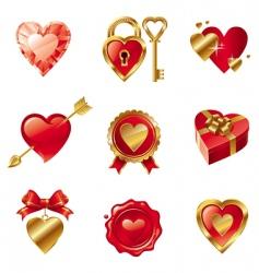 Valentine's symbols vector image vector image