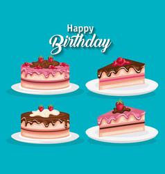 happy birthday set cake portions vector image