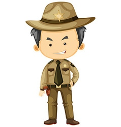 Sheriff in brown uniform vector image vector image