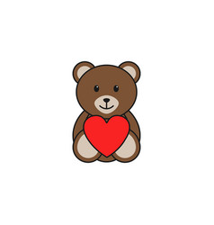 teddy bear wtih heart solid icon soft toy vector image vector image